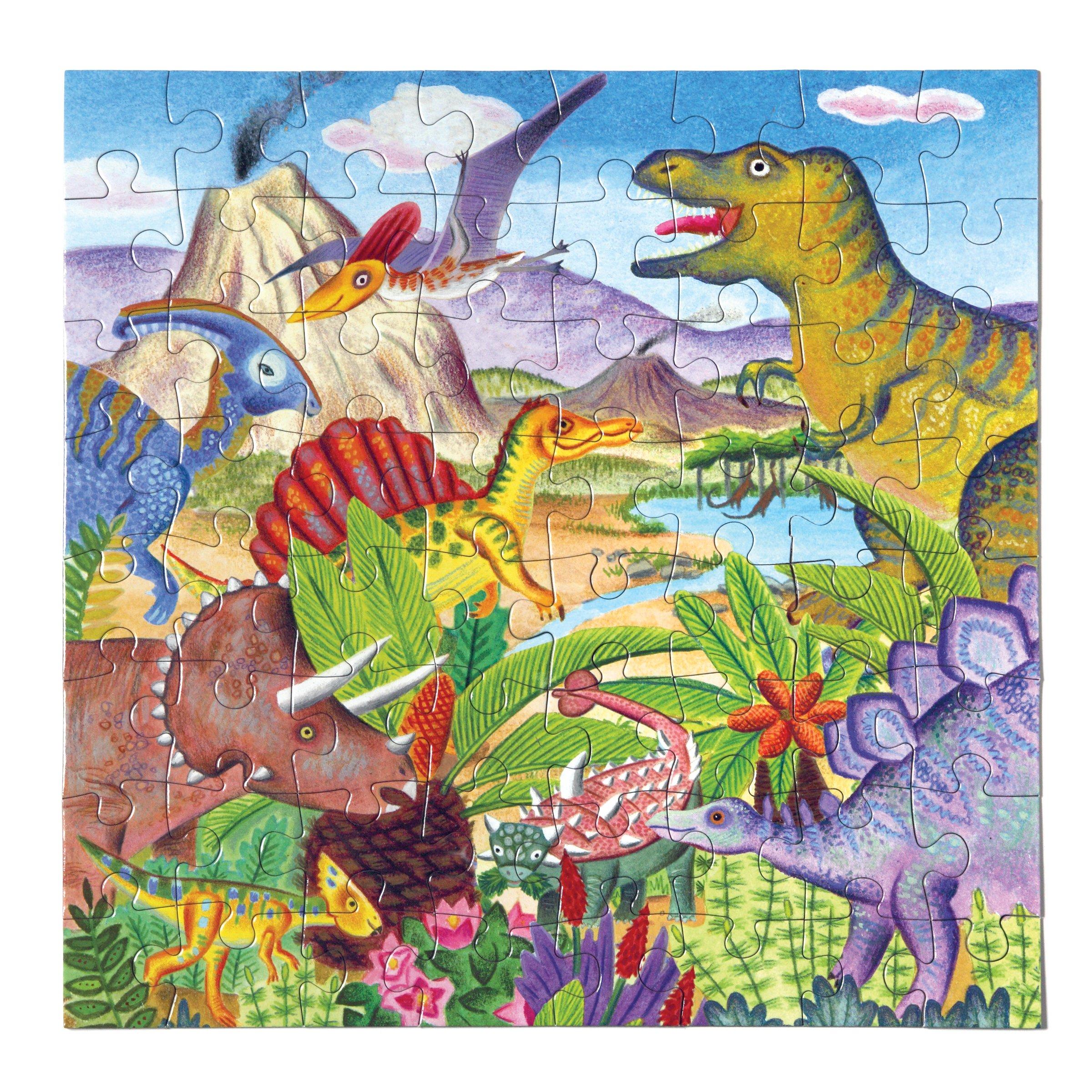 eeBoo Dinosaur Island Puzzle for Kids, 64 Pieces