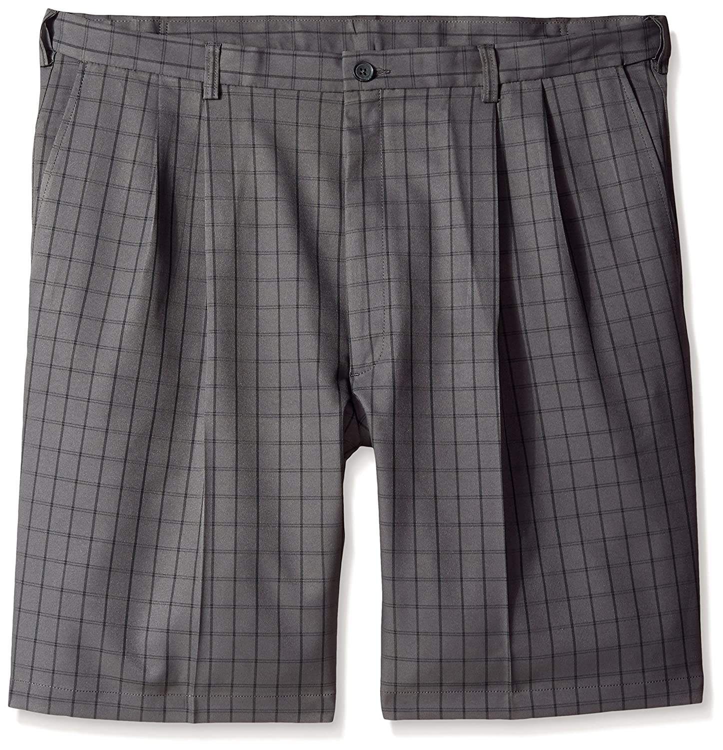Haggar Men's Big-Tall Cool 18 Graphic Windowpane Pleat Front Short Charcoal 44W Haggar Men's Bottoms HS90371