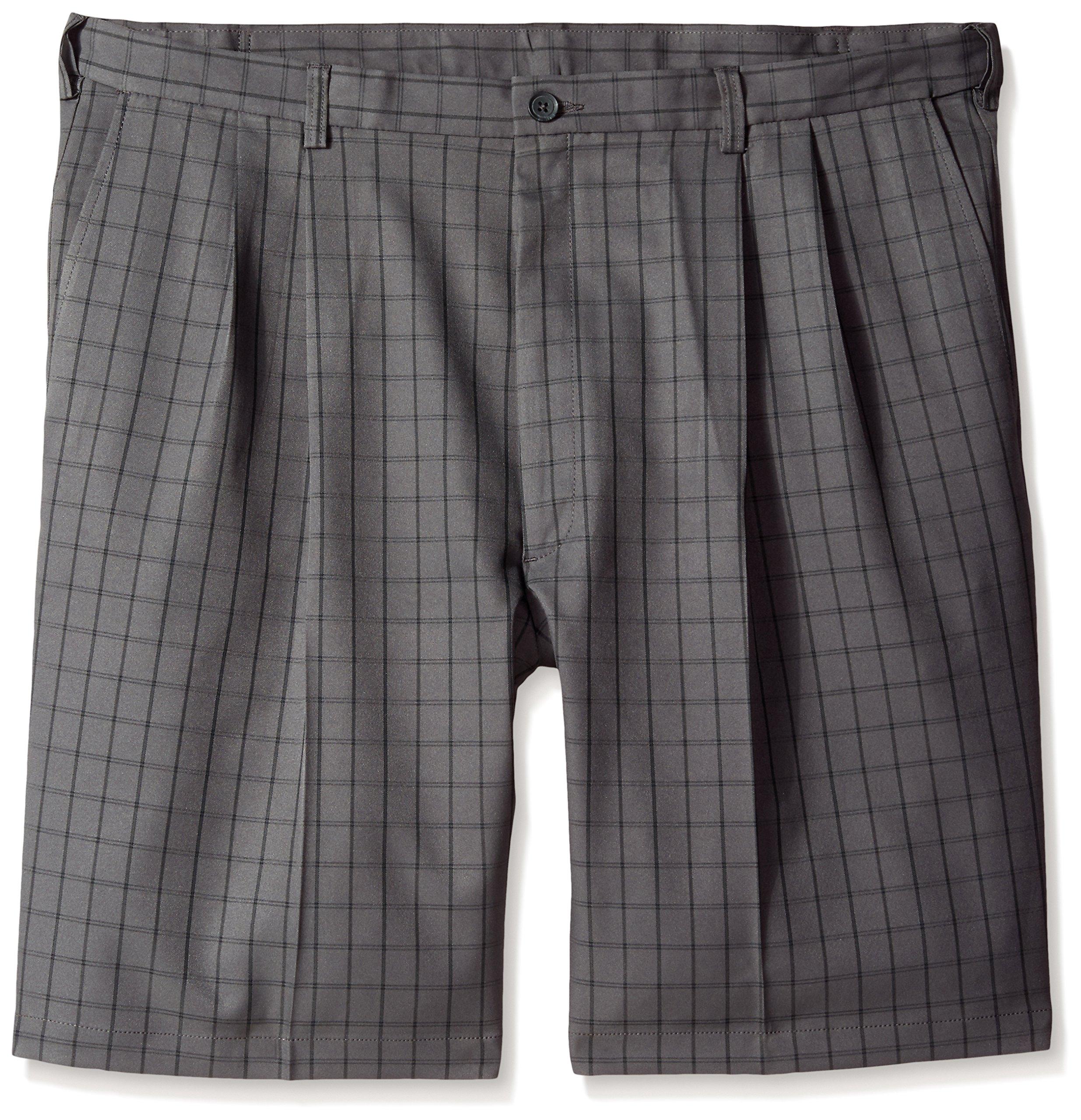 Haggar Men's Big-Tall Cool 18 Graphic Windowpane Pleat Front Short, Charcoal, 44W