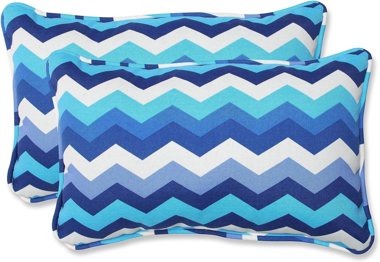 Amazon Com Pillow Perfect Outdoor Indoor Panama Wave Azure Lumbar Pillows 11 5 X 18 5 Blue 2 Pack Home Kitchen