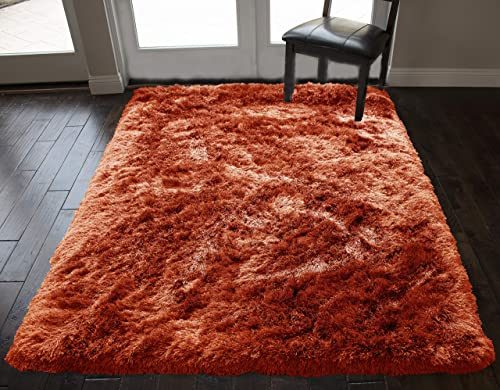 8 x10 Feet Light Orange Dark Orange Colors Solid Pattern Shag Shaggy Furry Hand-Woven Fuzzy Modern Contemporary Decorative Designer Soft Plush Signature Bedroom Living Room Area Rug Carpet Rug