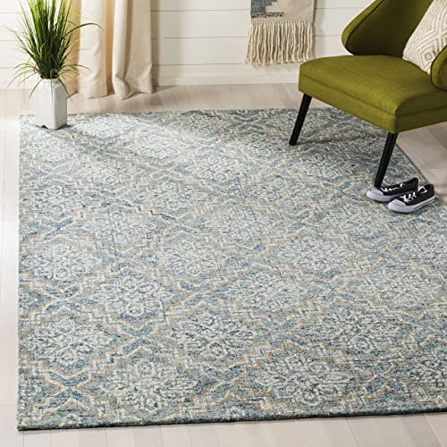 Safavieh Abstract Collection ABT201A Contemporary Handmade Blue and Grey Premium Wool Area Rug 8' x 10'