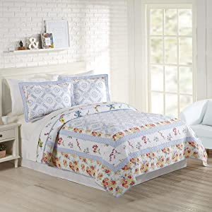 Mary Jane's Home Floral Patch Quilt, Full Queen 90X90'', Blue