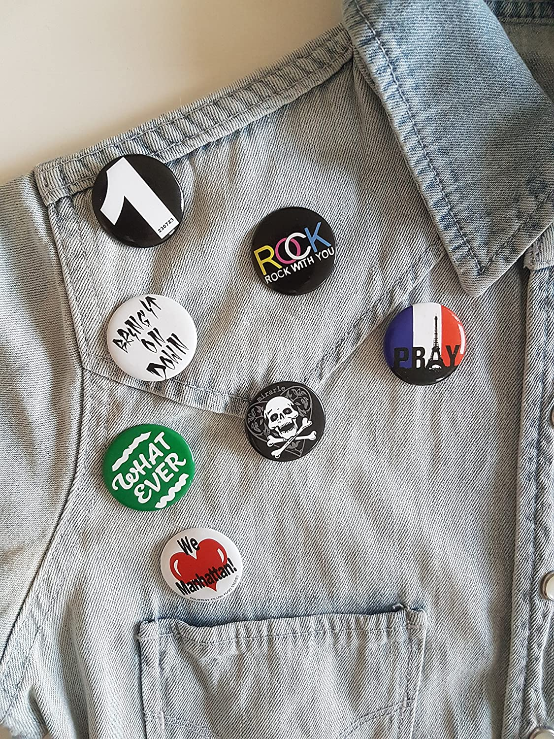 Huge Wholesale Set of 30Pc Cool Buttons Pins Badges 80s Punk Rock Hardcore Skull Buttons pins Slogans Sayings pin,Lapel pin for Clothes//Bags//Backpack//Hats//Jeans and More.