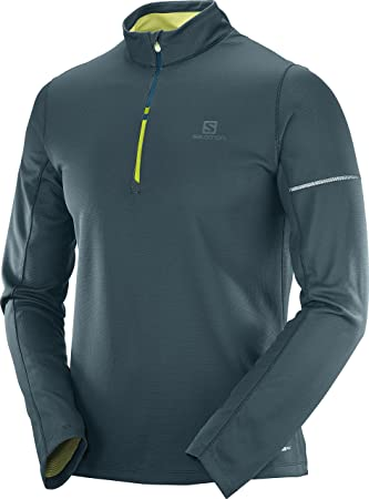Salomon AGILE MID - Camiseta de deporte - reflecting pond/acid lime 8RC0Ev29