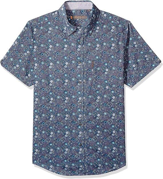 Ben Sherman Mens SS Tonal FLRL Print Shirt Green L
