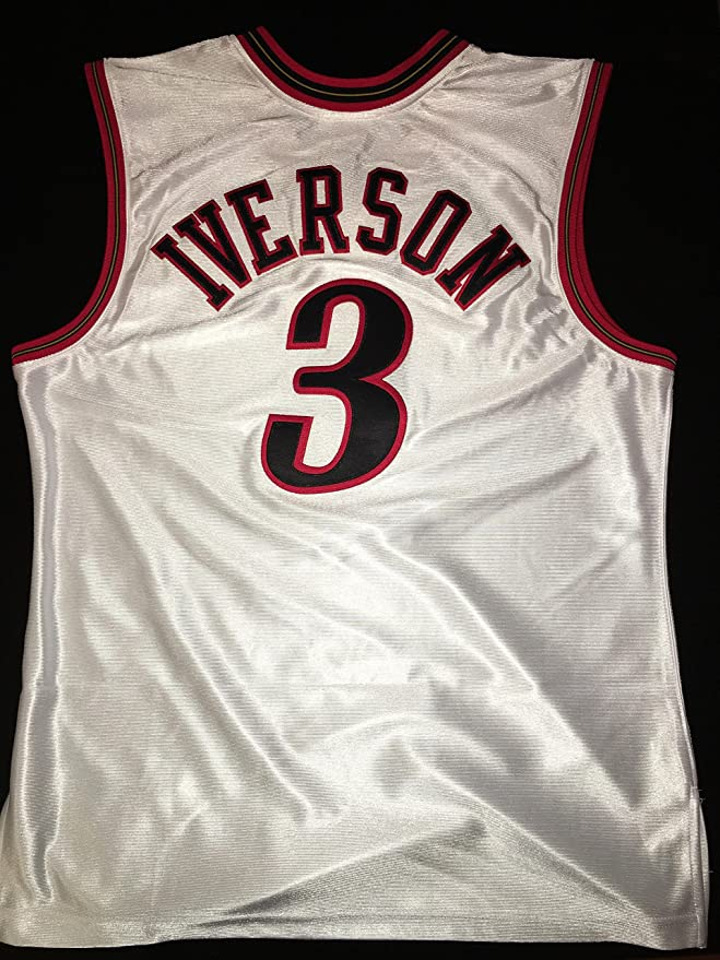 dea63d21cf08 Amazon.com   Brand New Authentic White Allen Iverson 2001 Playoff Jersey    Sports   Outdoors