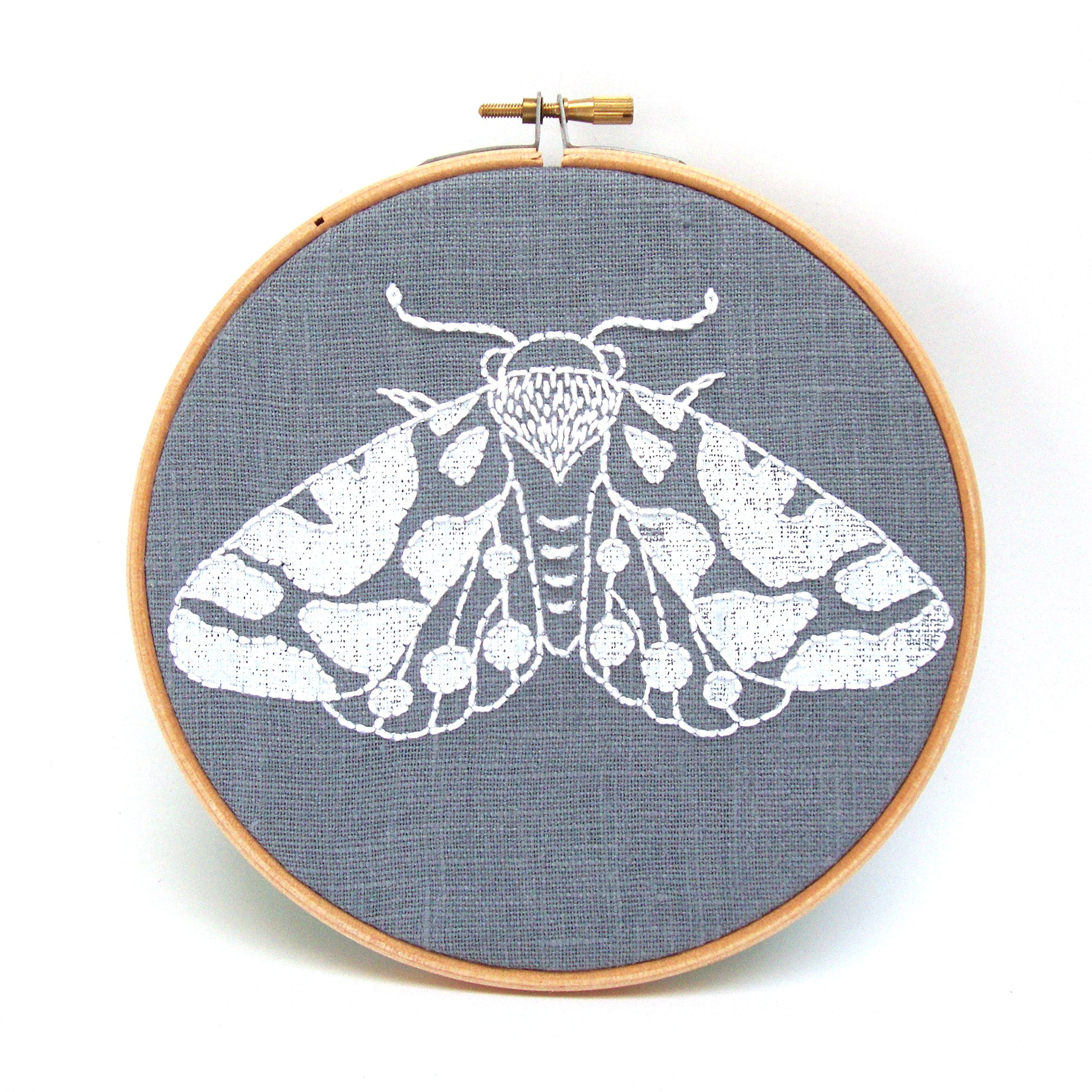 Moth Embroidery Kit (Grey)