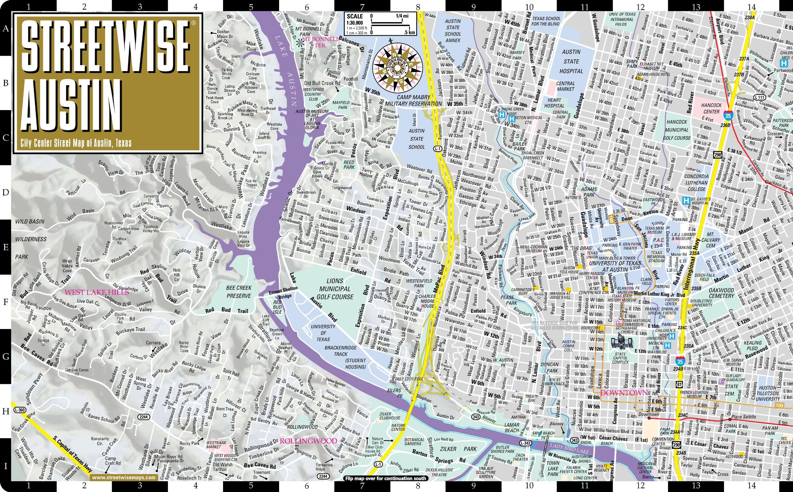 Streetwise Austin Map Laminated City Center Street Map of Austin