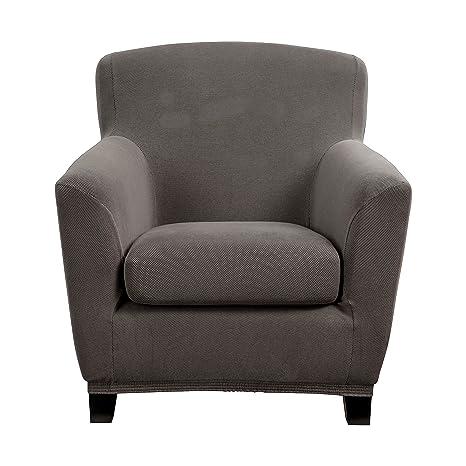 Bellboni Funda de sofá sillón, sillón Lounge, Funda para sofá, Funda Estirable bi-elástica, Funda elástica para Muchos Tipos de sillón comunes, Gris