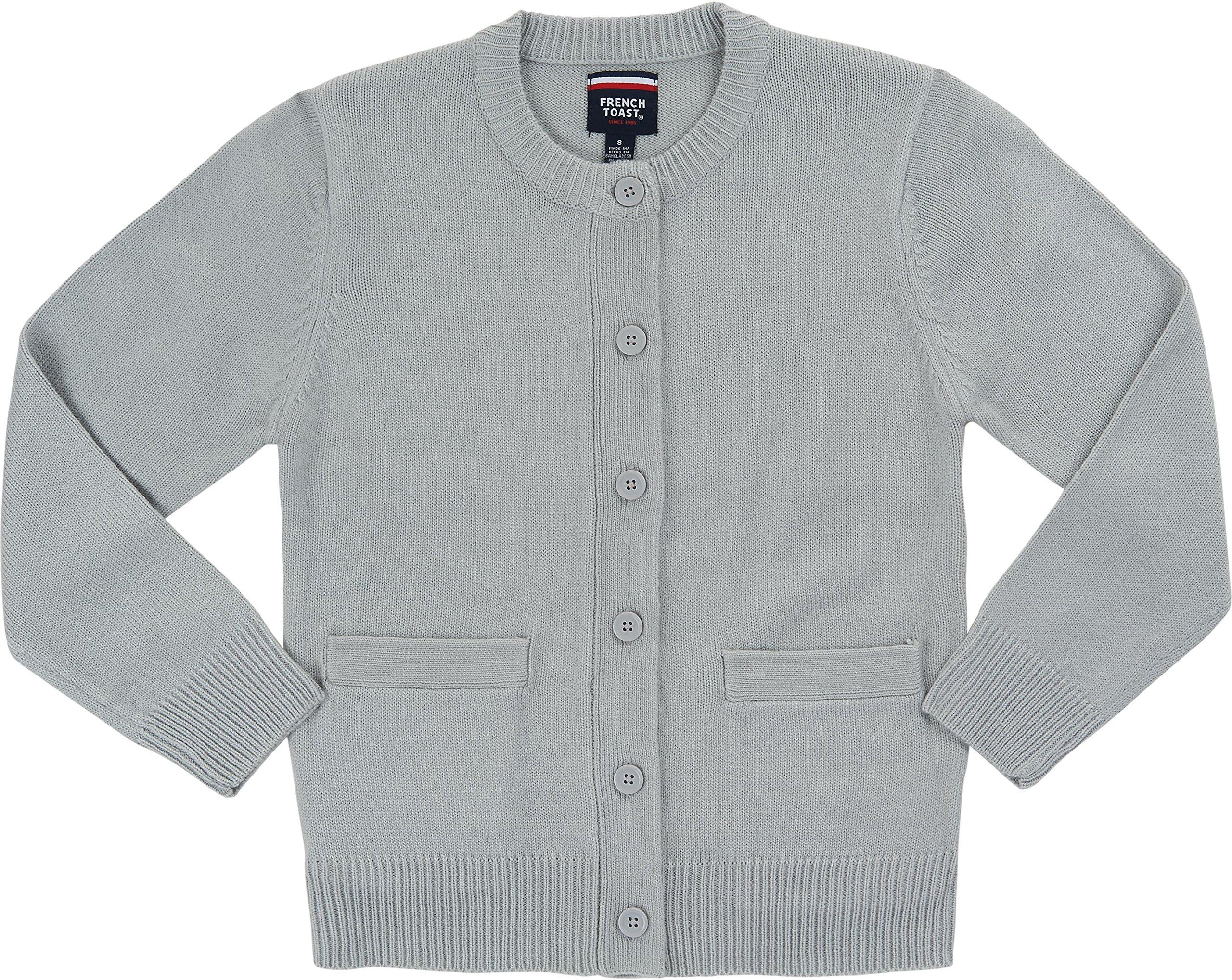 French Toast School Uniform Girls Anti-Pill Crew Neck Cardigan Sweater, Gray, Small (6/6X)