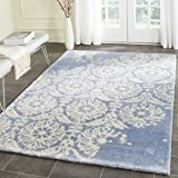 Safavieh Bella Collection BEL125C Handmade Light Blue and Ivory Premium Wool Area Rug (6' x 9')
