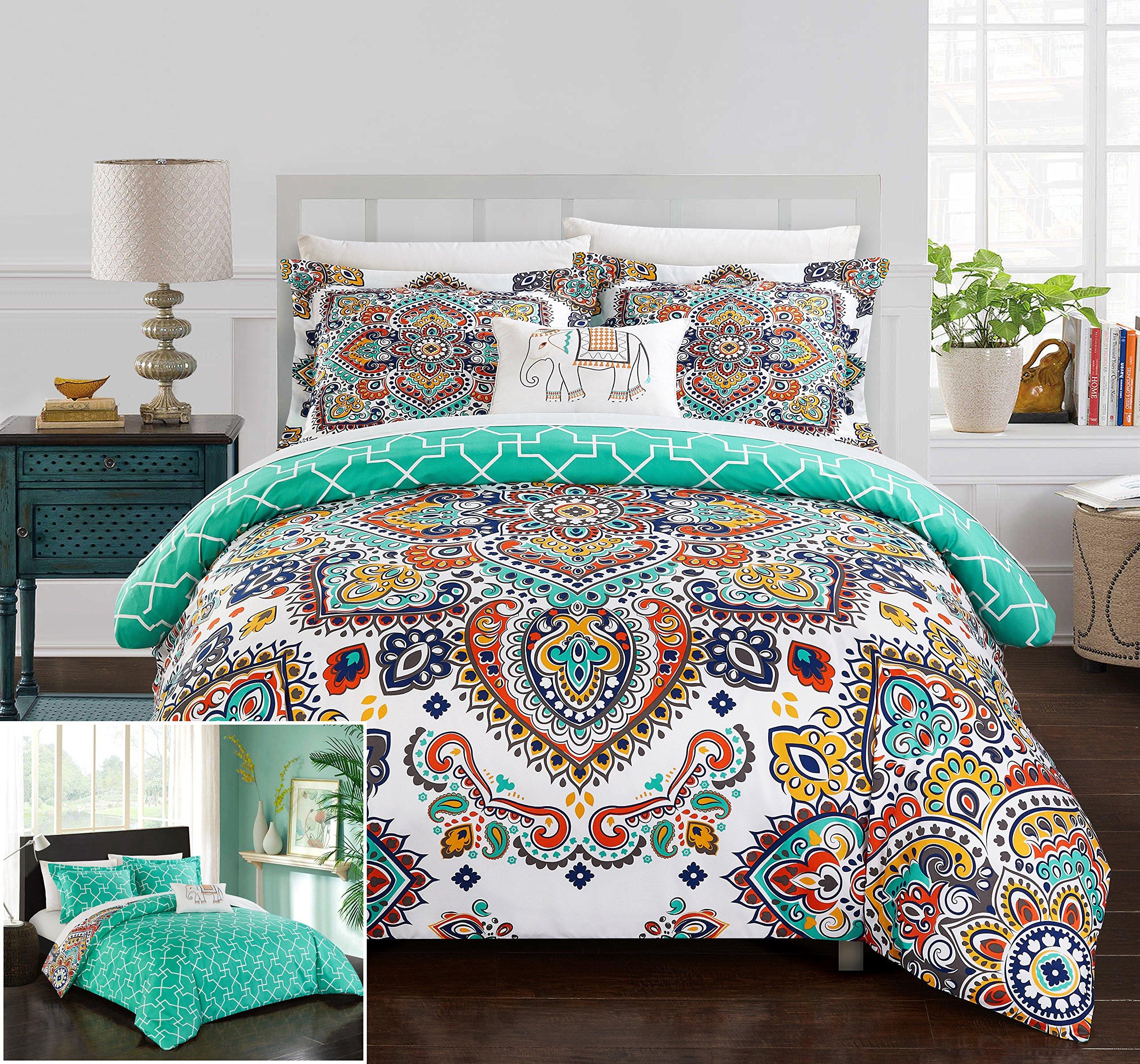 Chic Home 4 Piece Karen Reversible Boho-inspired print and contemporary geometric patterned technique King Duvet Cover Set Aqua