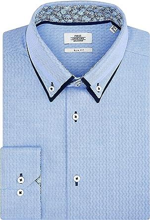 next Hombre Camisa De Corte Ajustado con Cuello Doble Azul ...