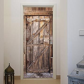 Papier Peint Porte Bois X Cm Entrée Planches Cru Rustique - Papier peint porte