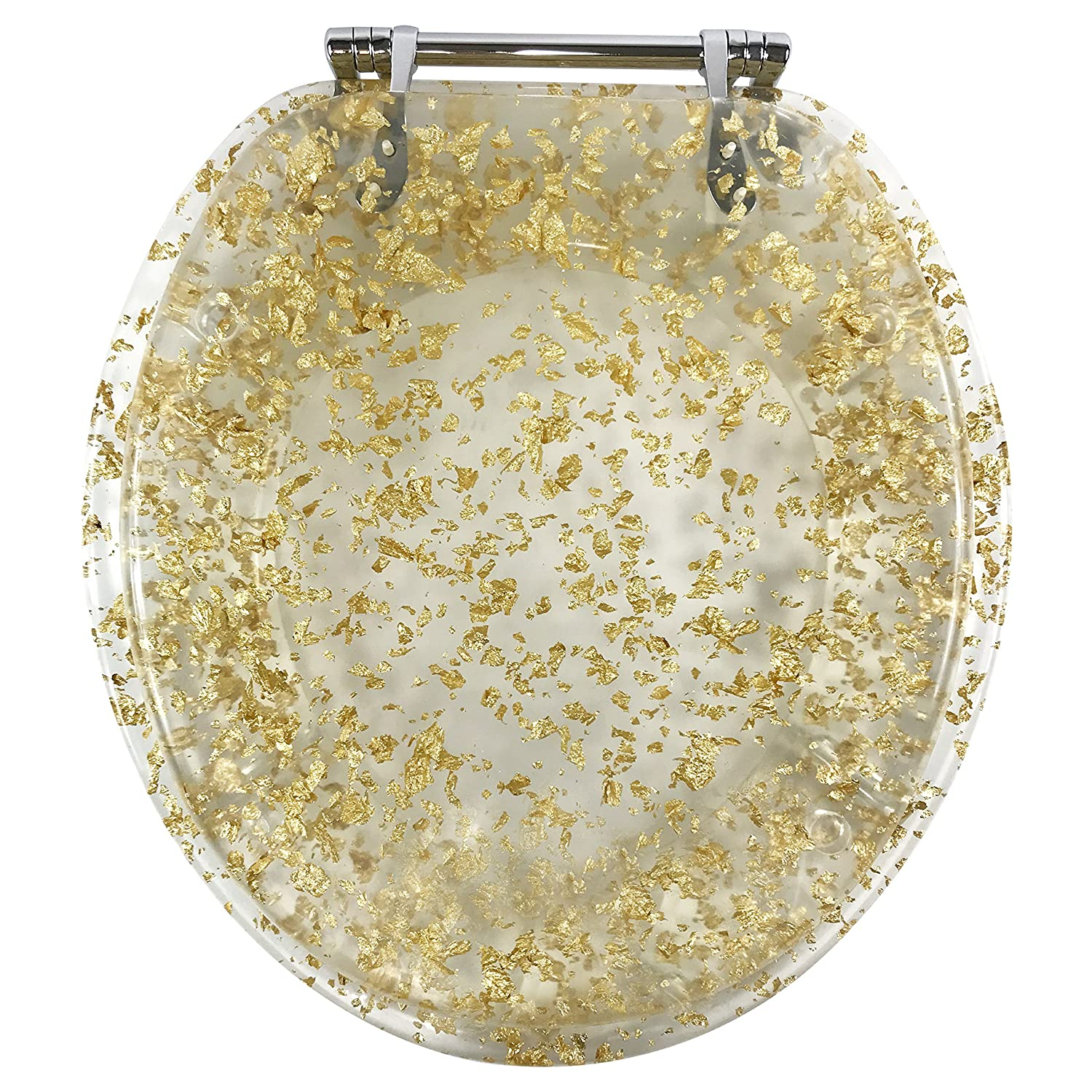 Remarkable Ginsey Standard Resin Toilet Seat With Chrome Hinges Gold Foil Caraccident5 Cool Chair Designs And Ideas Caraccident5Info