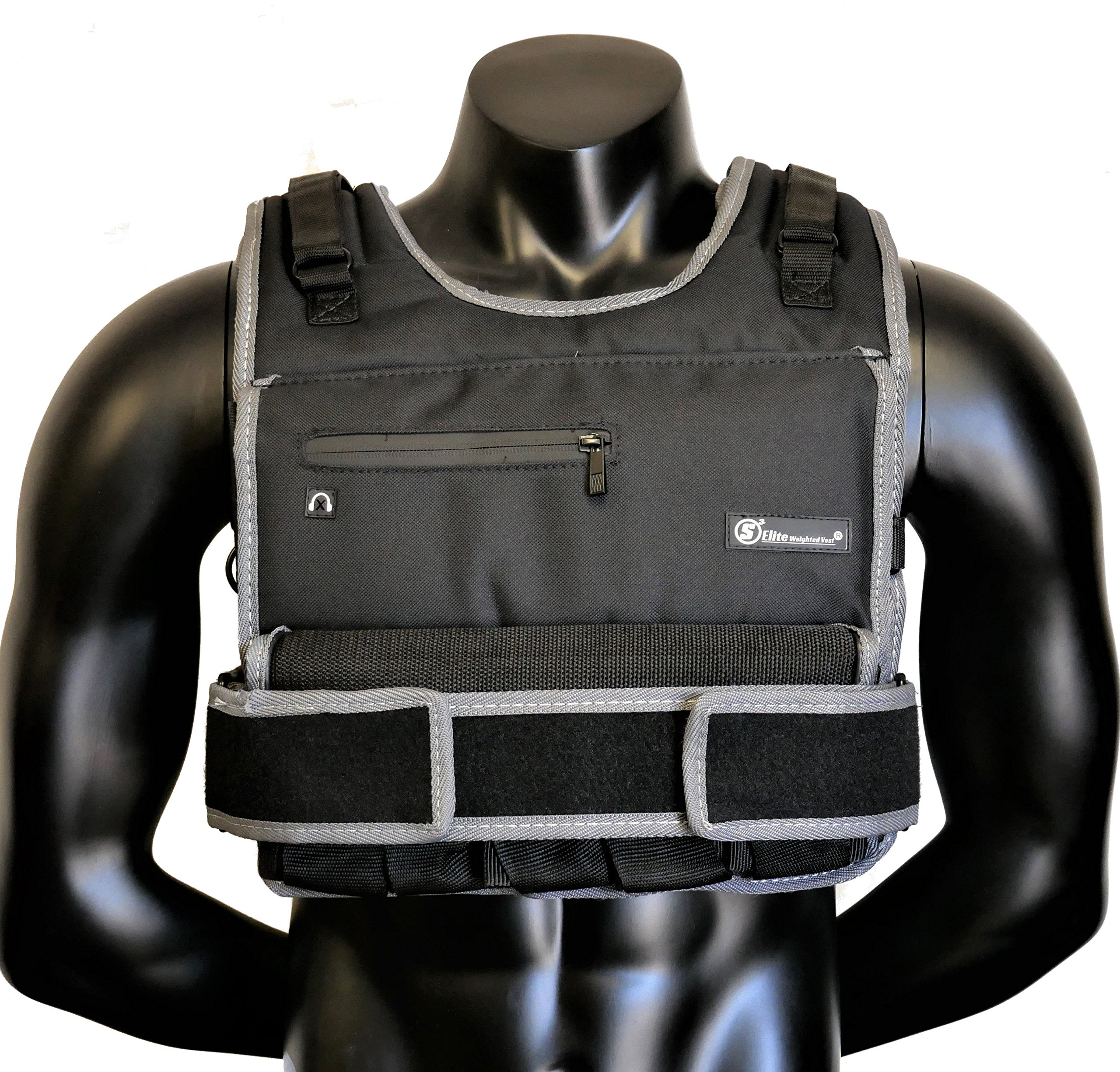 Strength sport systems Weight Vest (Short) - Premium Quality - Best for Cross fit Training - Running - Jogging - Fully Adjustable (S pro Weight Vest) (Elite II - Black, 70lbs(Iron bar Set))