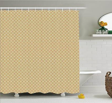 Amazon.com: Ambesonne Retro Shower Curtain, Continuous Orange Wavy ...