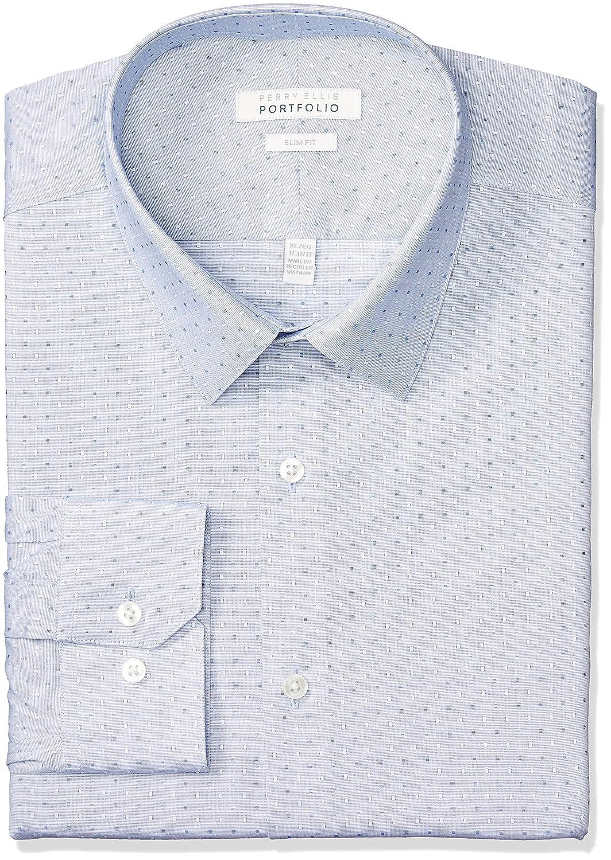 Perry Ellis Mens Standard Slim Fit Performance Dobby Dress Shirt