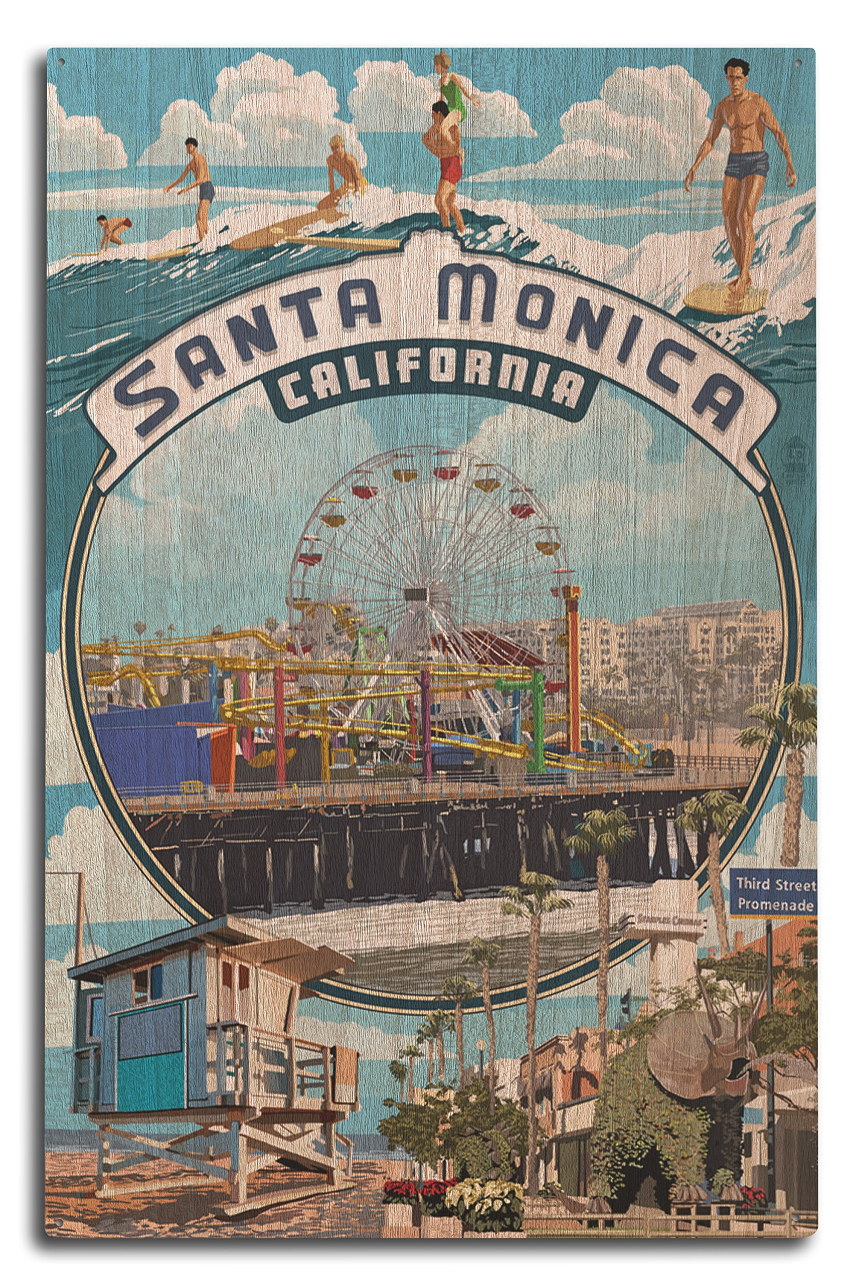 Lantern Press Santa Monica, California - Montage Scenes (10x15 Wood Wall Sign, Wall Decor Ready to Hang)
