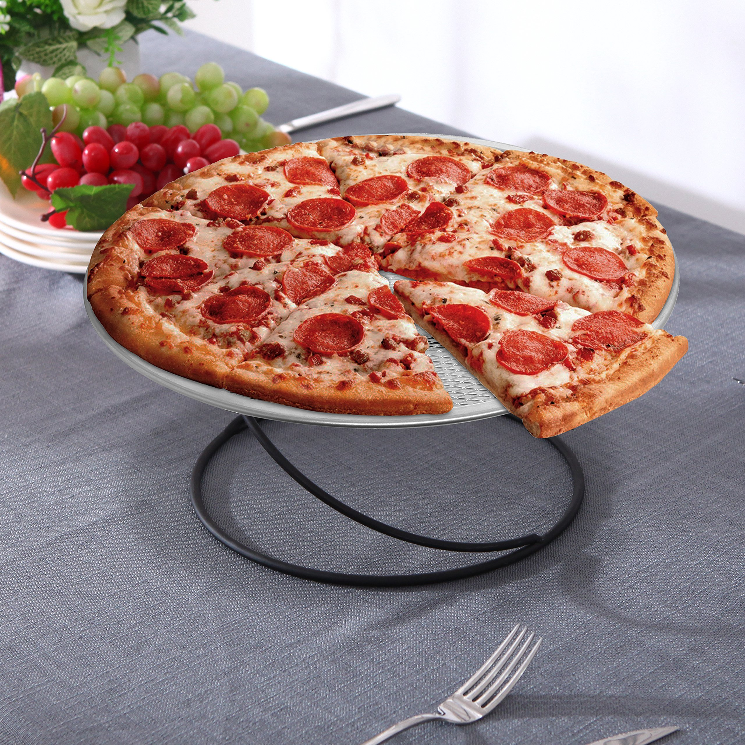MyGift Set of 4 Metal Spiral Wire Tabletop Pizza Tray Stands, Black by MyGift (Image #2)