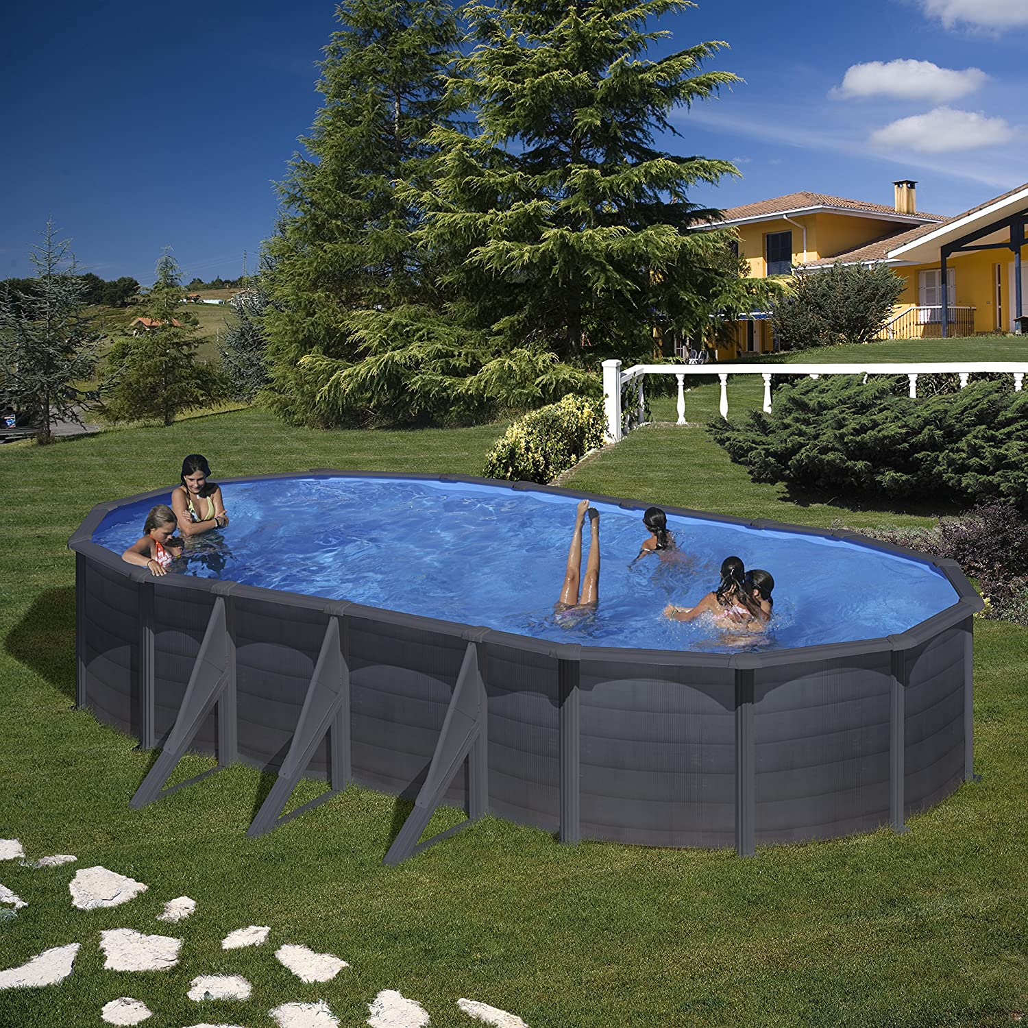 Piscina Ovalada Grafito Kea 730x375x120 Cm Gre Kit730gf: Amazon.es ...