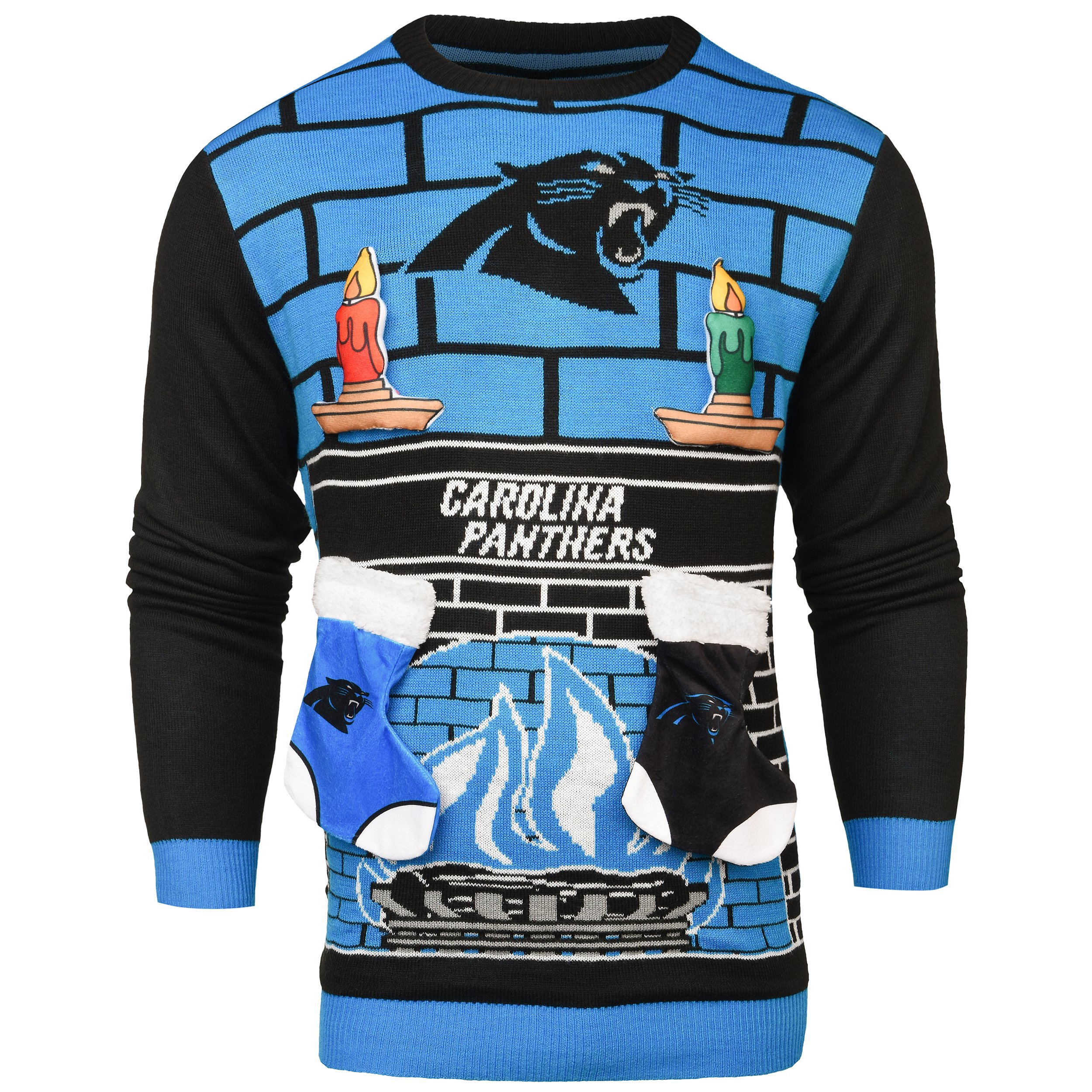 Carolina Panthers Ugly 3D Sweater - Mens Large