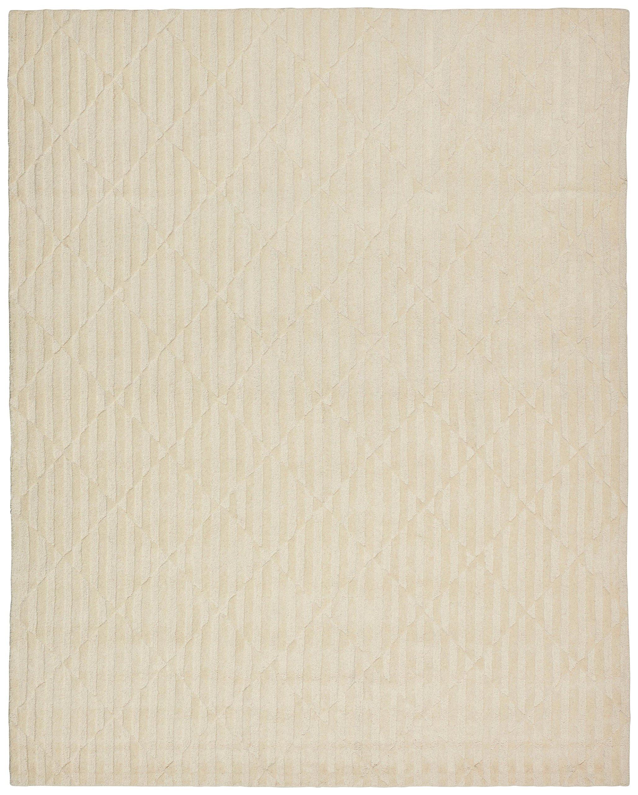 Rivet Geometric Criss-Cross Woven Wool Area Rug, 8' x 10', Cream