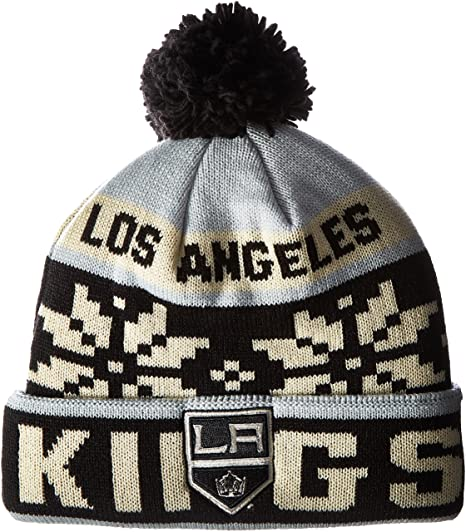 Amazon.com   NHL Los Angeles Kings Men s Face-Off Winter Cuffed Pom ... 2bd39f170f3