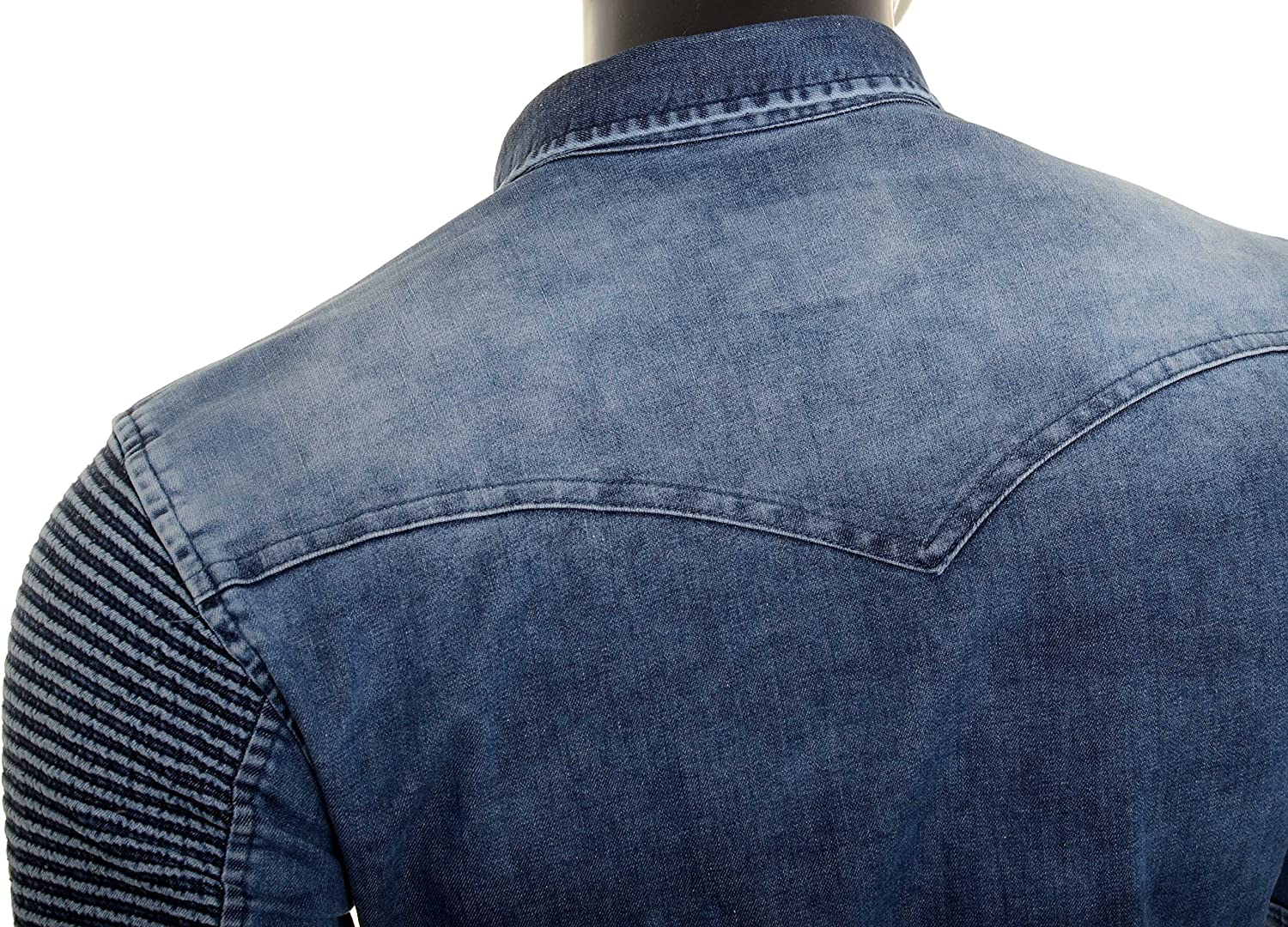 D/&R Fashion Men Denim Shirt Washed Out Ribbed Stretchy Top