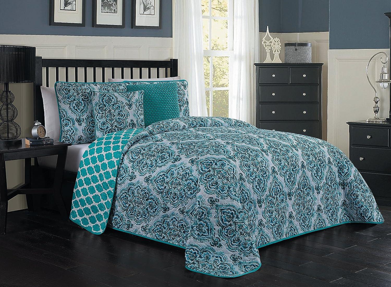 Avondale Manor Teagan 5-Piece Quilt Set, Queen, Blue
