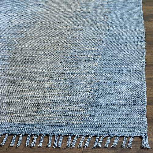 Safavieh Montauk Collection MTK718B Handmade Flatweave Light Blue Cotton Area Rug 3 x 5