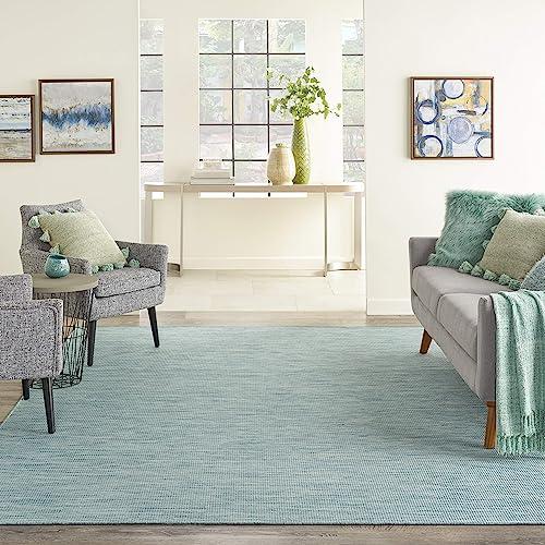 Nourison Positano Flat-Weave Indoor/Outdoor Aqua 8' Round Area Rug