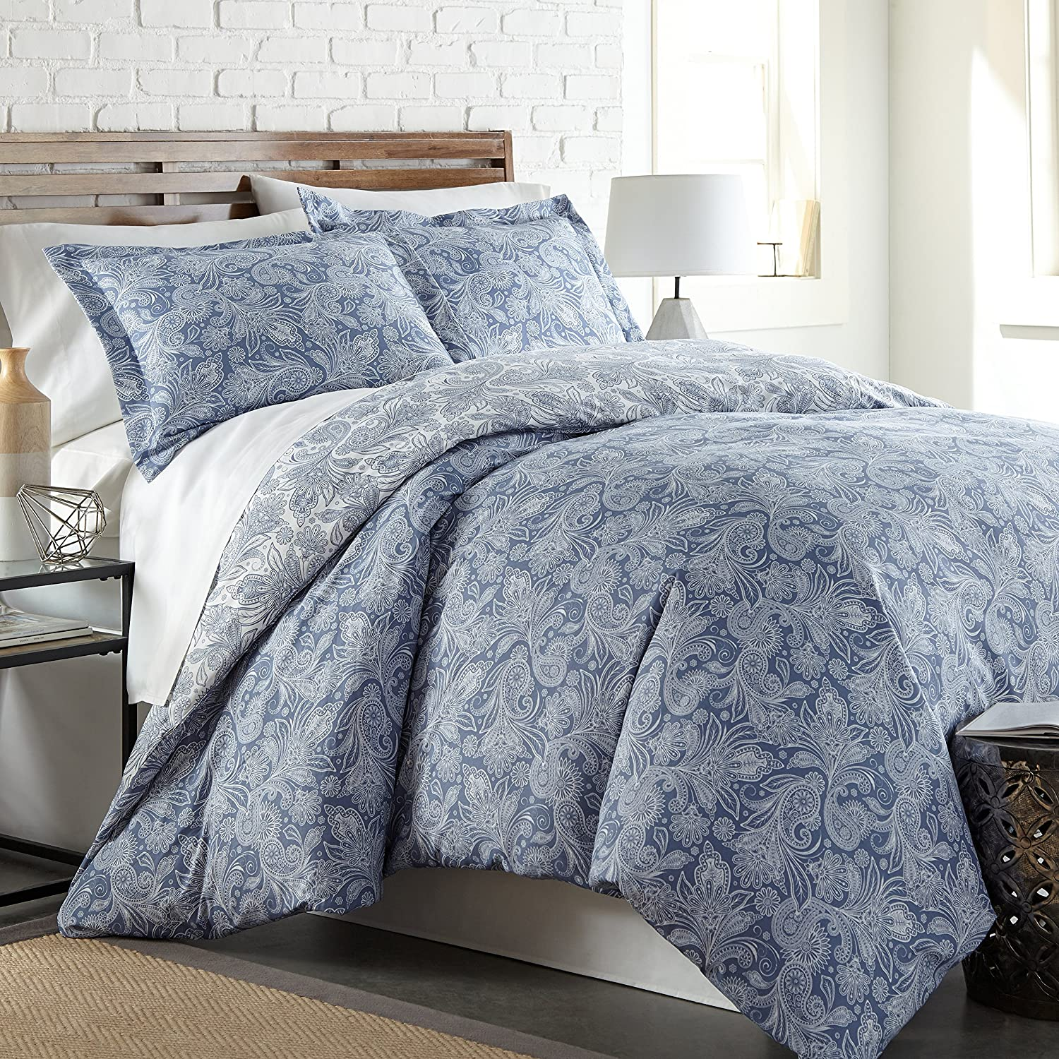 Southshore Fine Linens - Perfect Paisley Collection - Boho Style Comforter Sets, 3 Piece Set, Full/Queen, Blue