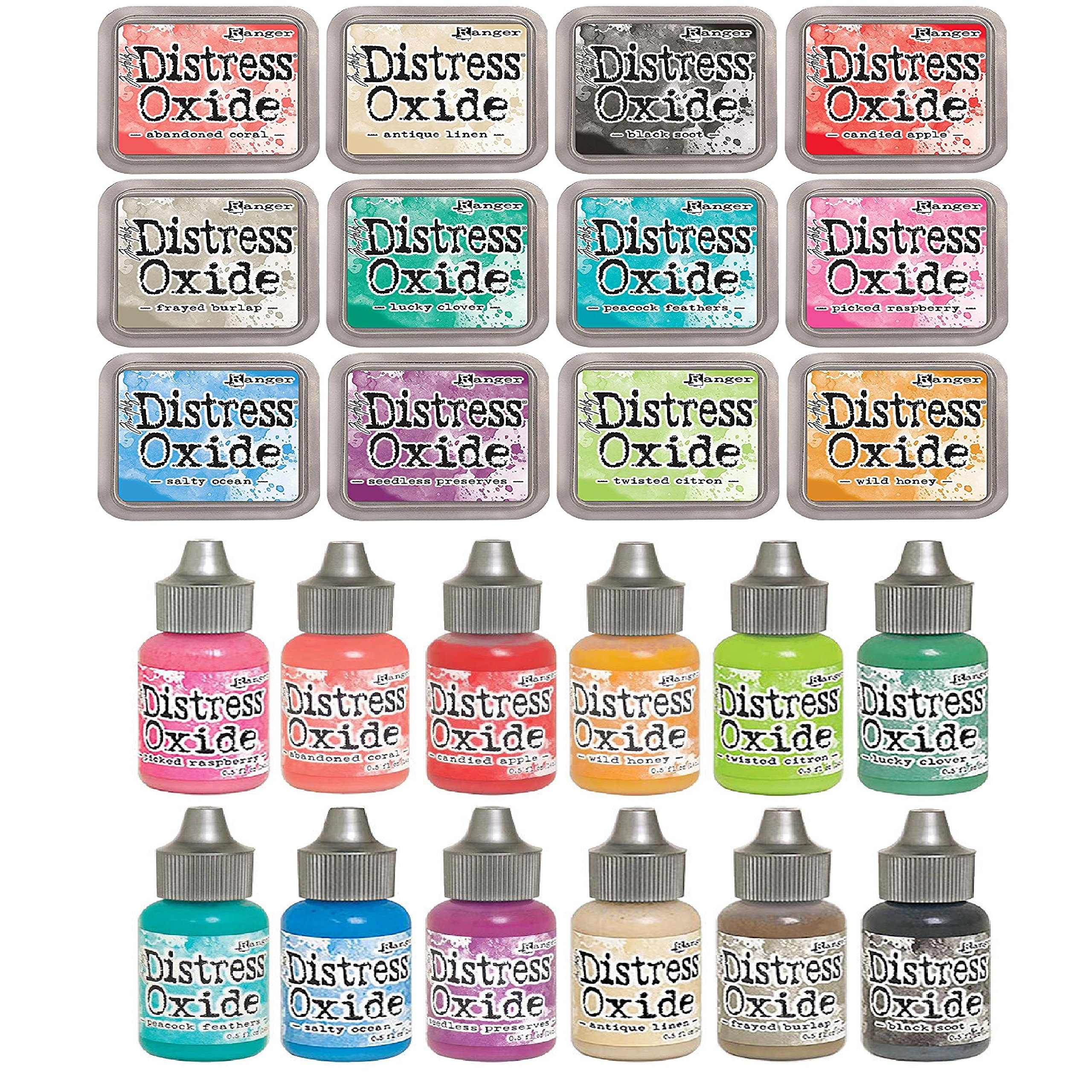 Tim Holtz Distress OXIDE Ink Pads AND Reinkers Set in All 12 Colors Set #2 by Ranger (Summer 2017 Release)