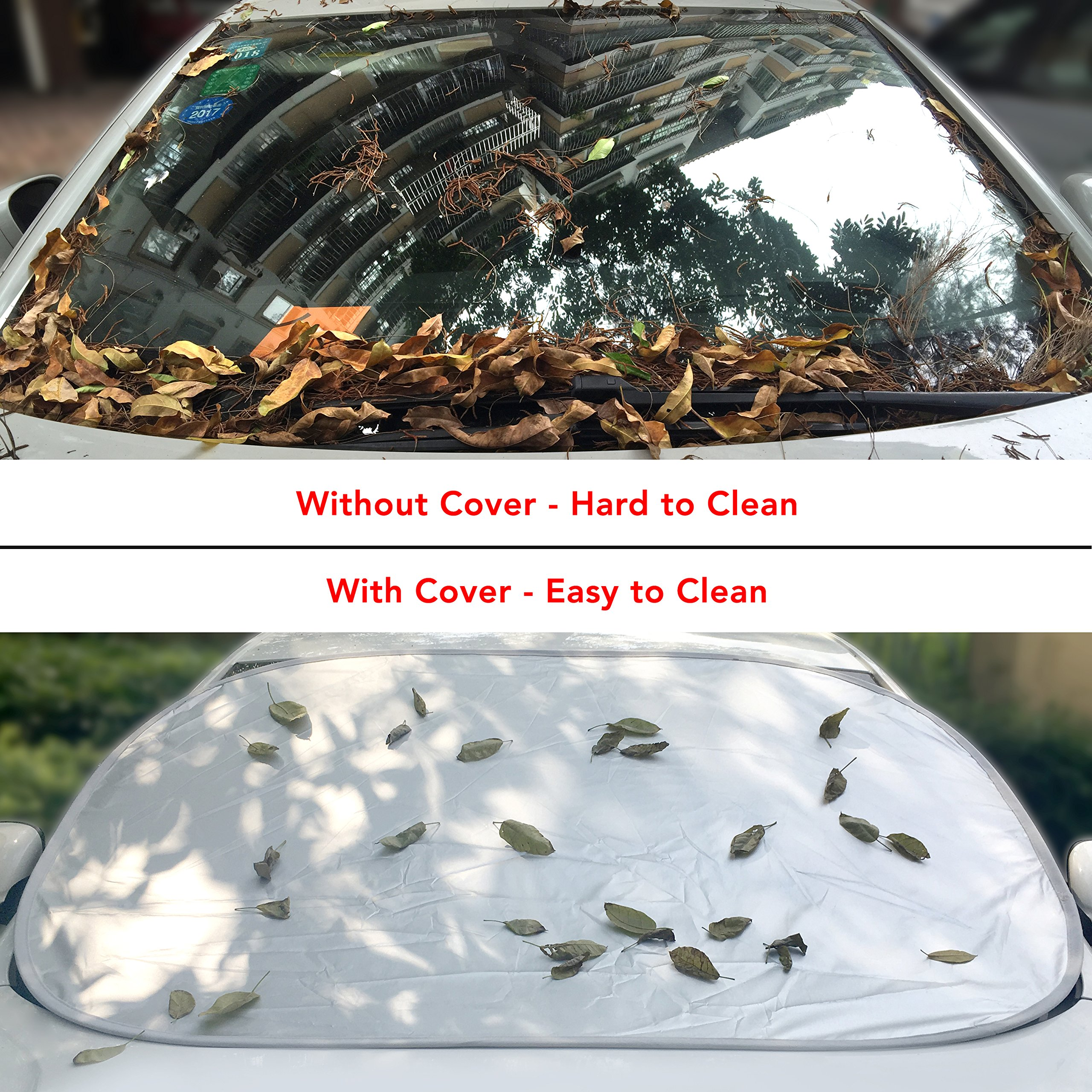 Lykus Car Windshield Cover, Snow Cover, Sun Shades, Protect Against Fallen Leaves and Others, Quick Setup and Fold within 5 Seconds, 58 x 43 inch
