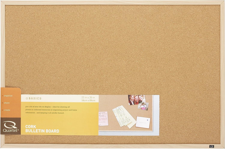 "Quartet Cork Board Bulletin Board, 23"" x 35"" Framed Corkboard, Oak Frame, Decorative Hanging Pin Board, Perfect for Office & Home Decor, Home School Message Board or Vision Board (35-380352) : Office Products : Office Products"