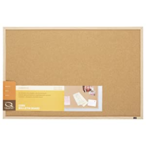 "Quartet Cork Board, Bulletin Board, 23"" x 35"", Corkboard, Oak Finish Frame (35-380352)"
