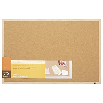 Superior Quartet Cork Bulletin Board, 23 Inch X 35 Inch, Oak Finish Frame