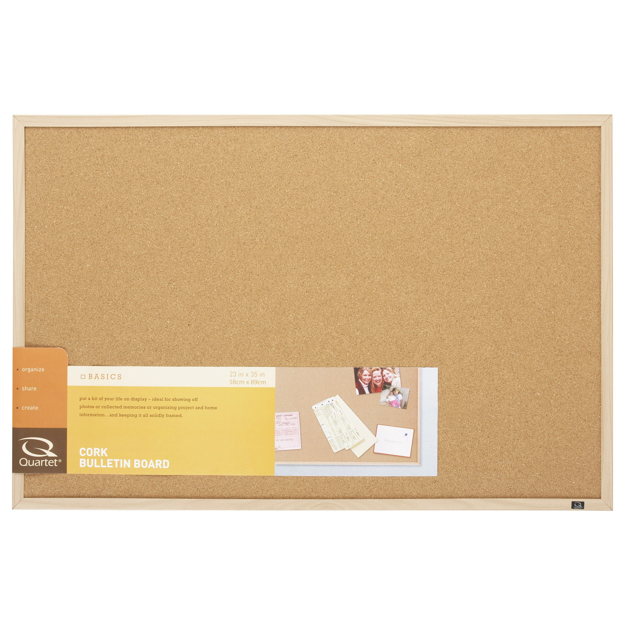 Quartet Cork Bulletin Board, 23-Inch x 35-Inch, Oak Finish Frame (35-380352)