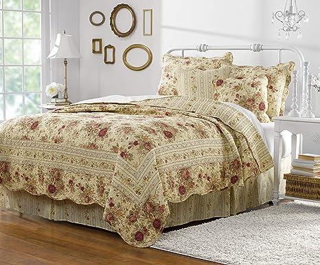 Amazon Com Greenland Home Antique Rose Quilt Set 5 Piece Full Queen Multi Home Kitchen
