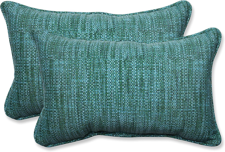 Pillow Perfect 596426 Outdoor Indoor Remi Lagoon Lumbar Pillows 11 5 X 18 5 Blue 2 Pack Home Kitchen