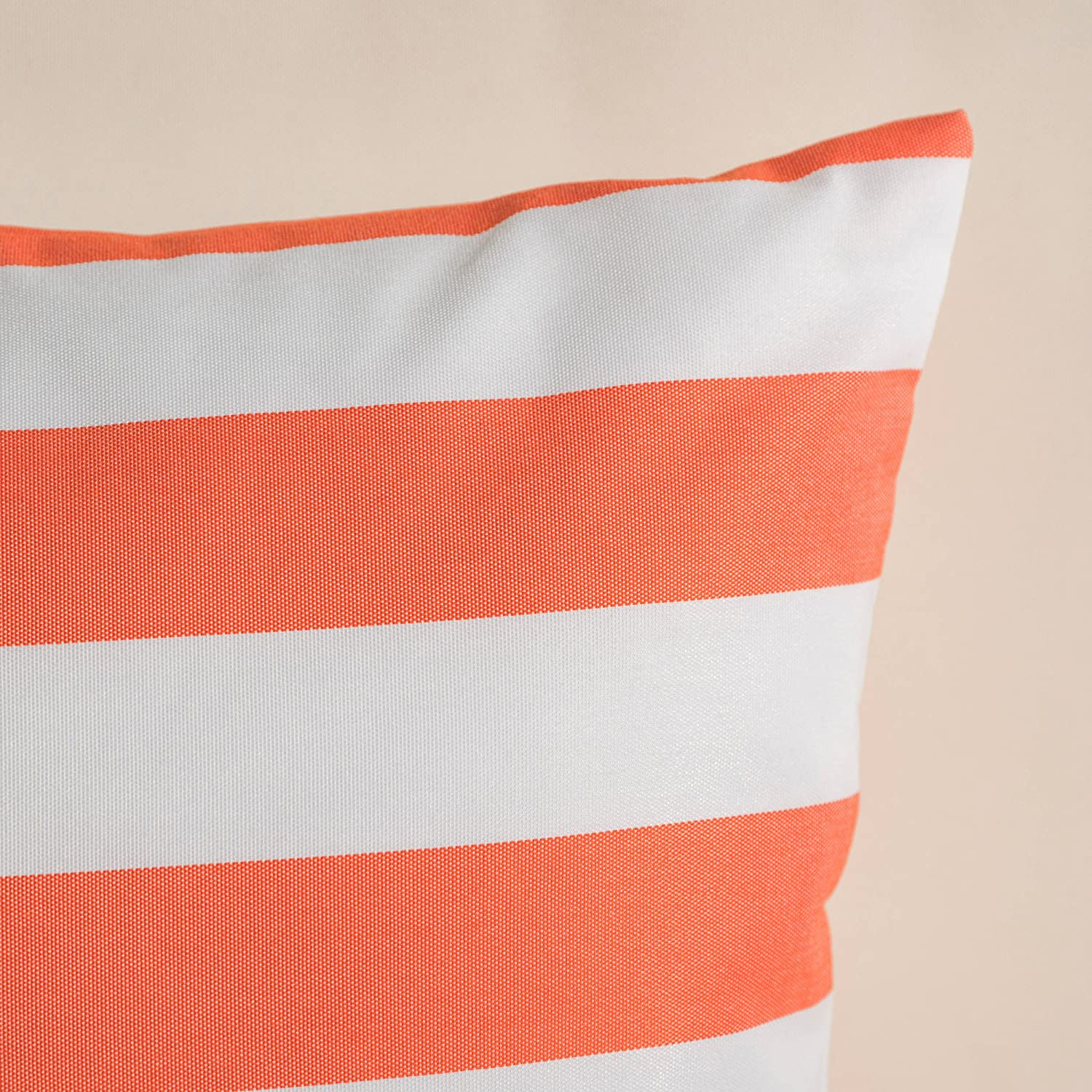 Christopher Knight Home Coronado Outdoor Orange and White Stripe Water Resistant Square Throw Pillow Set of 2