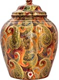 IndianArtVilla Printed Paisley Design Copper Water Dispenser Pot, Storage, Home Garden, 13 LTR, Yellow