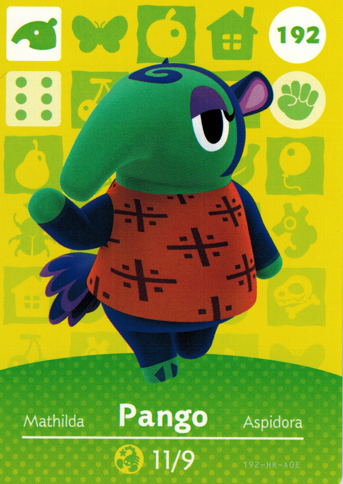 Nintendo Animal Crossing Happy Home Designer Amiibo Card Pango 192/200 USA Version