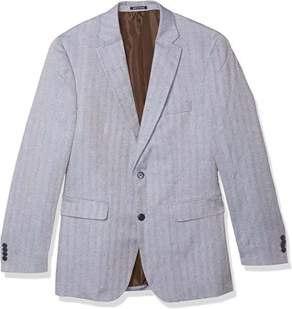 Louis Raphael Mens Slim Fit 2 Button Side Vent Linen Blend Herringbone Blazer Blazers or Sports Jacket