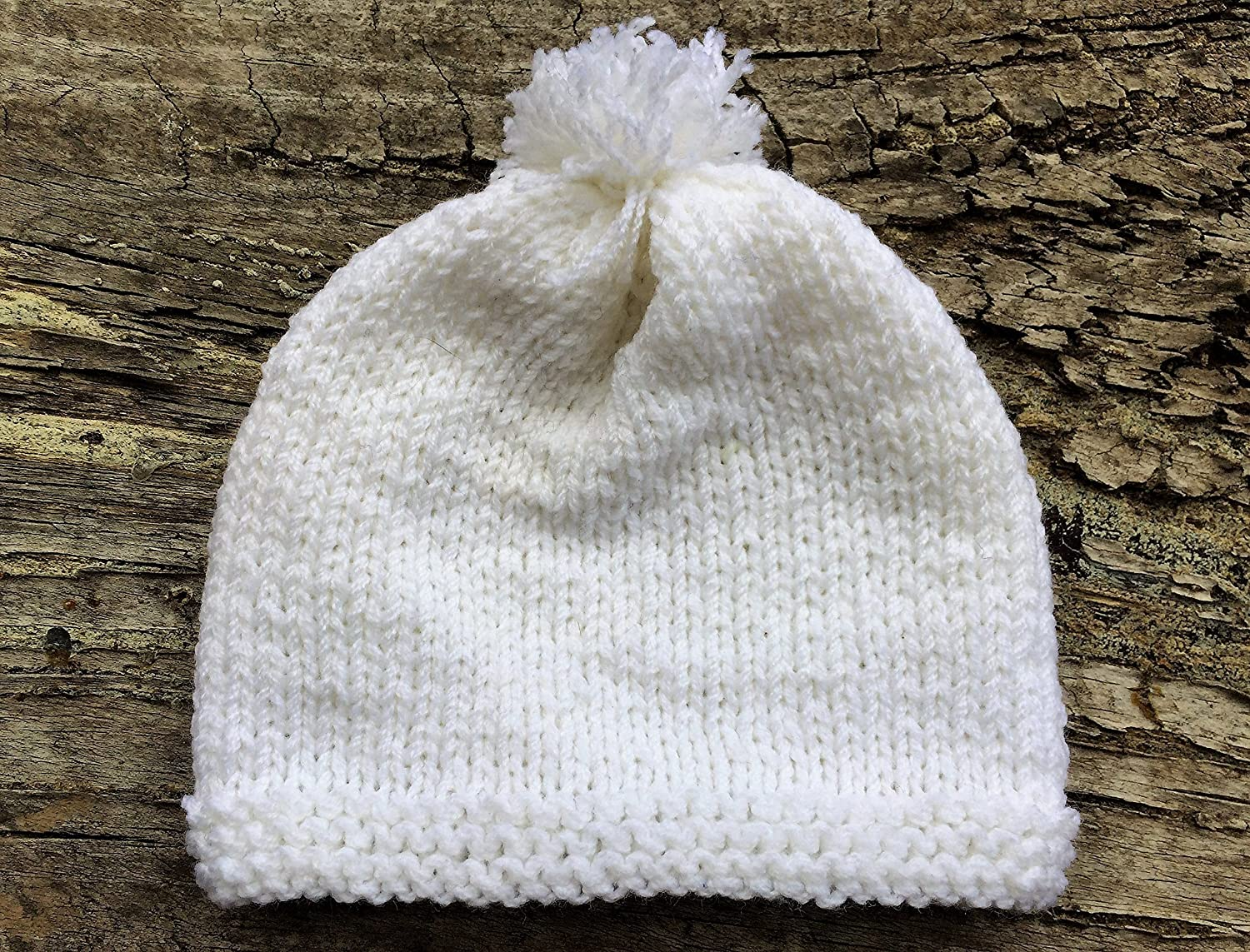 Baby Hat. White Baby Hat with Pompom. Free Shipping. Made of very soft wool  blend yarn. Gorgeous vintage design. Made for babies with 25-30 (preemie)  and ... a68d4bb7497a