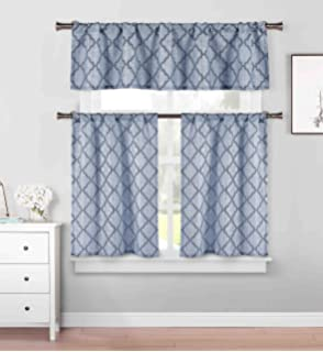 Delicieux 3 Piece Cafe Tiers Kitchen Window Curtain Set: Moroccan Trellis Design, One  Valance,