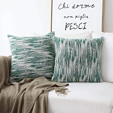 HOME BRILLIANT Oil Painting Pillow Covers Decorative Cushion Covers for Couch, 18x18 inches, 2 Pack, Green