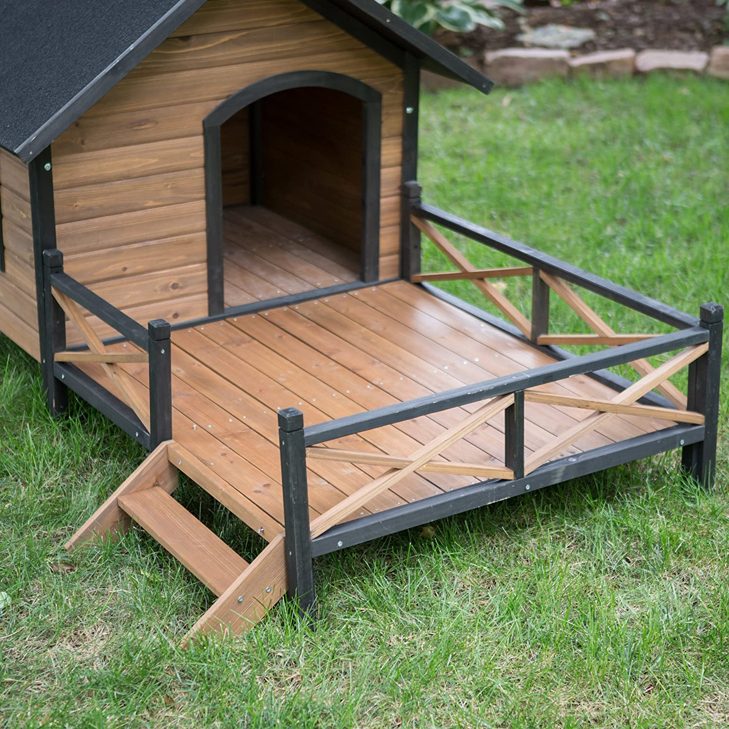 Amazon Dog House Lodge with Porch Deck Kennels Crates